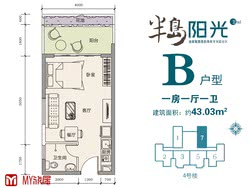 B户型约43.03平米(建筑面积)一房一厅